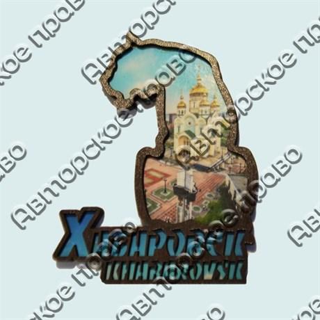 Купить магнитик из дерева Тигр коллаж с видами Хабаровска - фото 10236