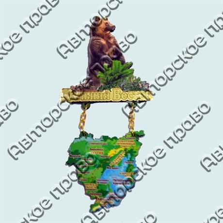 Купить магнитик качели Дальний Восток медведь с картой - фото 10271