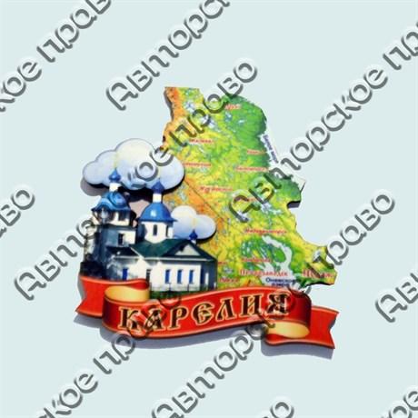 Купить магнитик Карелия карта области с лентой и храмом - фото 10434