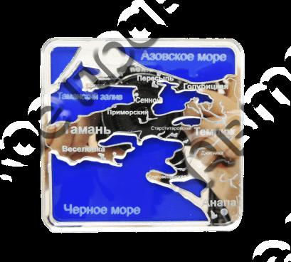 Магнит Карта с названием Вашего города Квадратный зеркальный серебро-синий - фото 36753