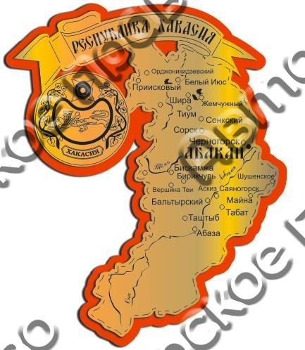 Магнит Карта Вашего региона золото-красный - фото 36879