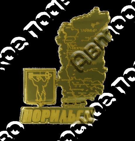 Магнит Карта Вашего региона с гербовой символикой зеркальный золото - фото 36988