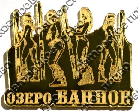 Магнит Девушки в купальниках со сноубордами с названием Вашего города зеркальный золото - фото 37027