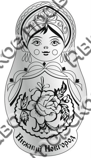 Магнит Матрешка 2 с названием Вашего города зеркальный серебро - фото 37259