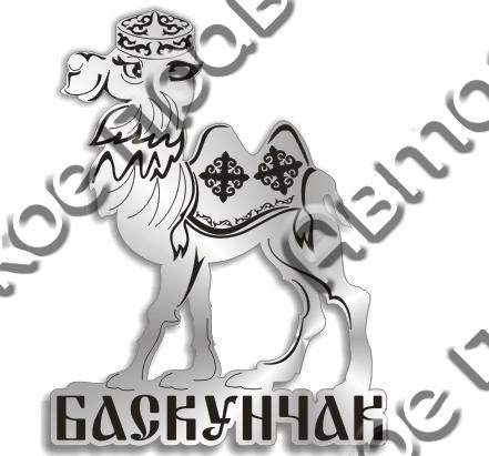 Магнит Верблюд 2 с названием Вашего города зеркальный серебро - фото 37269
