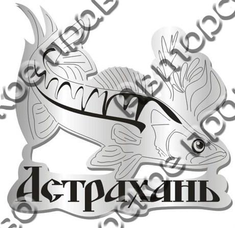 Магнит Рыба Судак в траве с названием Вашего города зеркальный серебро - фото 37282