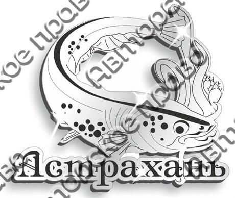 Магнит Рыба Сом с названием Вашего города зеркальный серебро - фото 37285