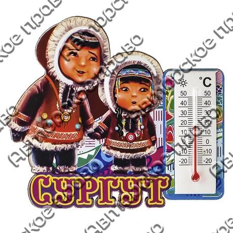 Магнит 1-слойный Этно дети с фурнитурой - термометром с символикой Вашего города - фото 53623