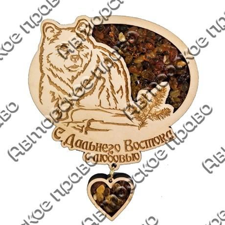 """Магнитик с янтарем """"Медведь с подвесной деталью"""" №1 с символикой Вашего города - фото 54335"""