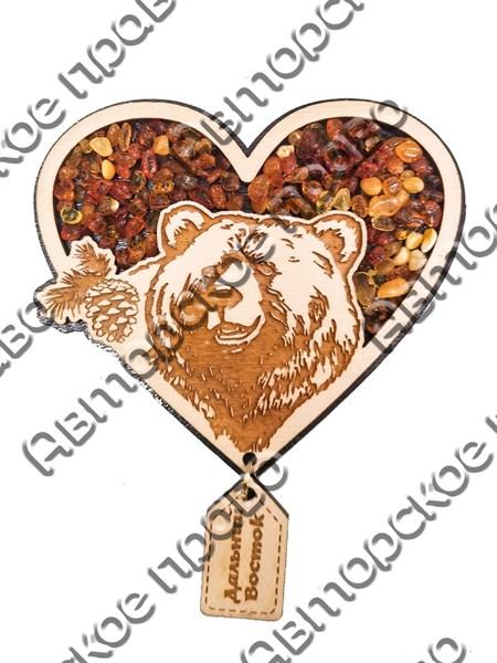 """Магнит с янтарем """"Медведь в сердце с подвесной деталью"""" с символикой Вашего города - фото 54338"""