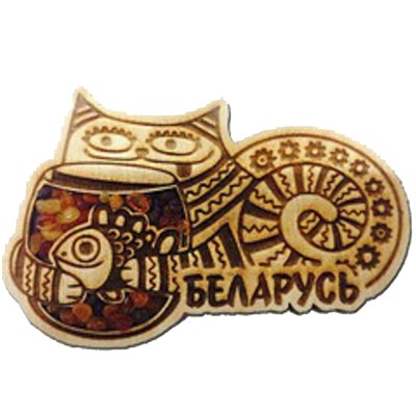 """Магнит с янтарем """"Кот"""" №2 с символикой Вашего города - фото 54372"""