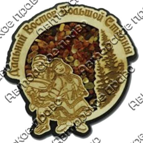 """Магнит с янтарем """"Пара шаманов"""" с символикой Вашего города - фото 54375"""