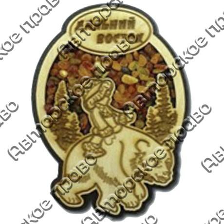"""Магнит с янтарем """"Мальчик на медведе"""" с символикой Вашего города - фото 54379"""