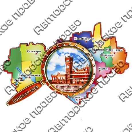 Магнитик 2-хслойный Карта с лупой с символикой Вашего города вид 1 - фото 54423