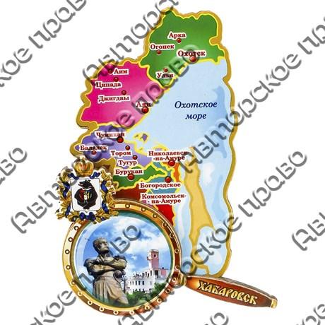 Магнитик 2-хслойный Карта с лупой границы территории с символикой Вашего города вид 2 - фото 54424