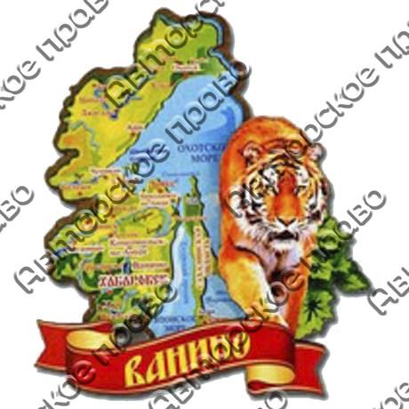 Магнит 2-хслойный Карта с тигром на ленте с символикой Вашего города - фото 54441