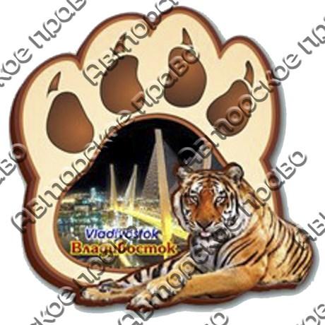 """Магнит 2-хслойный """"Лапа тигра с видами Вашего города"""" - фото 54442"""