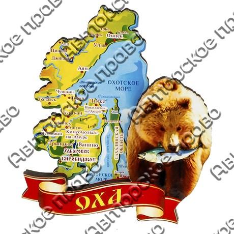 Магнитик 2-хслойный Карта с медведем с символикой Вашего города - фото 54496