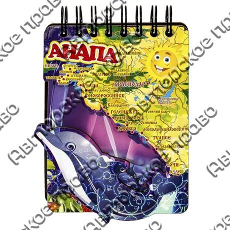 Магнит - блокнот цветной Дельфин с картой вашего региона, края или области 50 листов - фото 54625