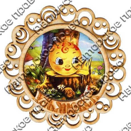 Магнит с гравировкой Круглая резная рамка с символикой Вашего города - фото 54636
