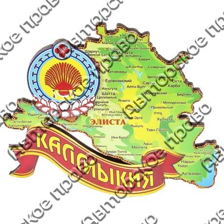 Магнит 1-слойный Карта Вашего региона на ленте с достопримечательностями Вашего города - фото 55158