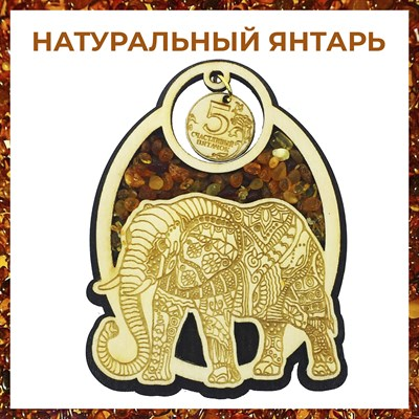 Магнит с янтарем Слон вид 1 - фото 55497