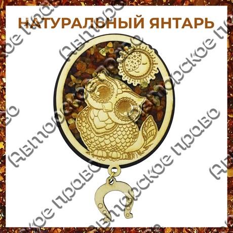 Магнит с янтарем Сова в круге - фото 55507