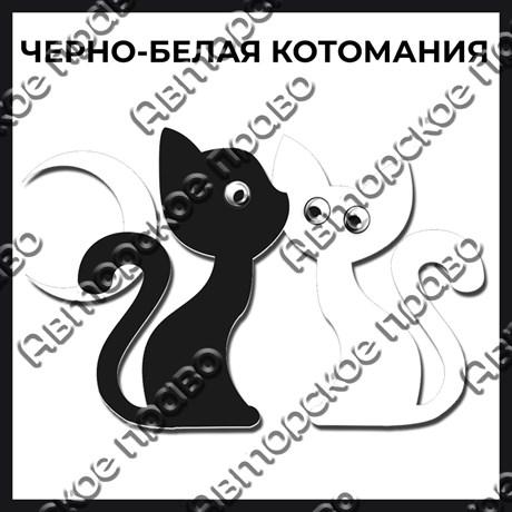 Магнит черно-белый с подвижными глазками Котейки вид 14 - фото 55571