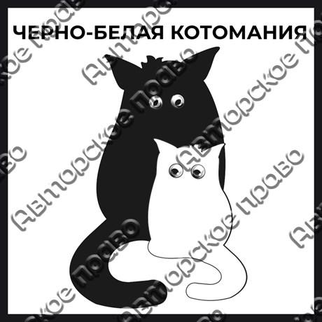 Магнит черно-белый с подвижными глазками Котейки вид 4 - фото 55580