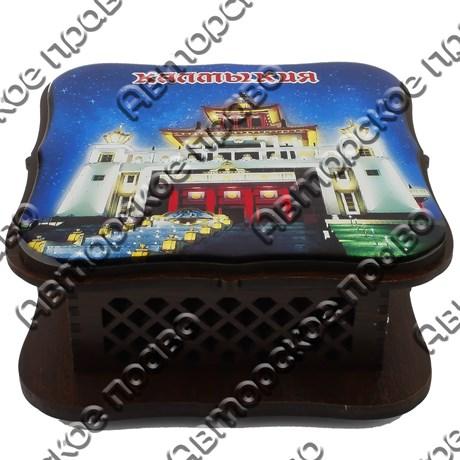 Шкатулка квадратная резная со смолой вид 1 с видами, достопримечательностями или символикой вашего города - фото 56369