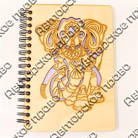 Блокнот А6 с гравировкой Слон 50 листов - фото 58062