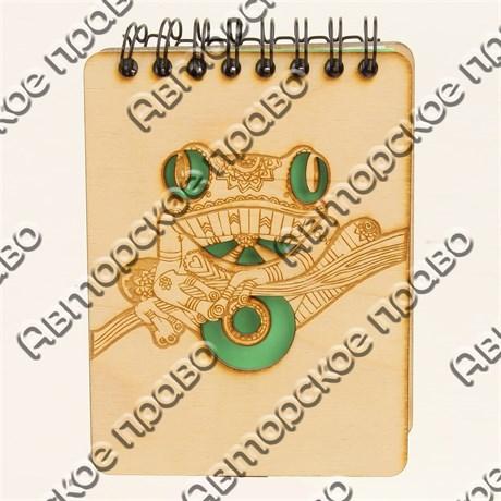 Магнит - блокнот А7 с гравировкой Лягушка 50 листов - фото 58085
