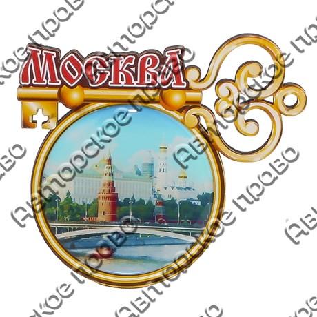 Магнит со смолой Круглая рамка с ключиком и символикой Вашего города - фото 69308