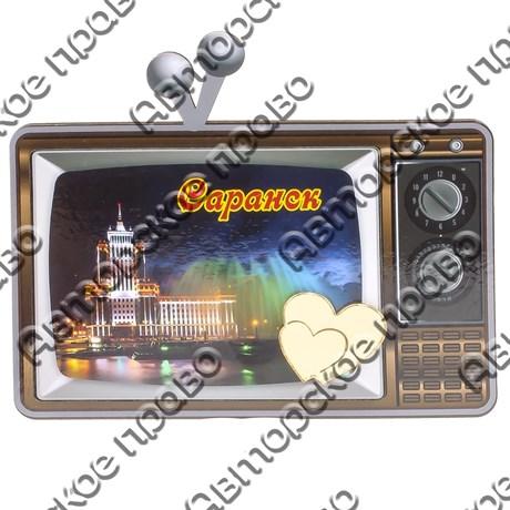 Магнит Телевизор с зеркальной фурнитурой и символикой Саранска - фото 69835