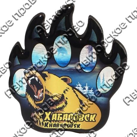 Магнит сувенирный со смолой Лапа медведя с видами, достопримечательностями или символикой Вашего города - фото 73277