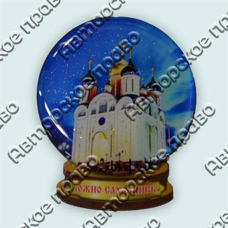 Магнитик с полимерной смолой снежный шар Южно-Сахалинск - фото 8746