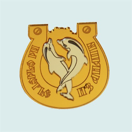 Купить магнитик зеркальный комбинированный золотая подкова с двумя дельфинами и названием города - фото 9297