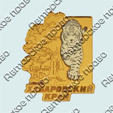 Купить магнитик зеркальный комбинированный золотая карта с тигром - фото 9301