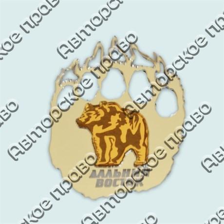 Купить магнитик зеркальный комбинированный серебряный след с медведем - фото 9920
