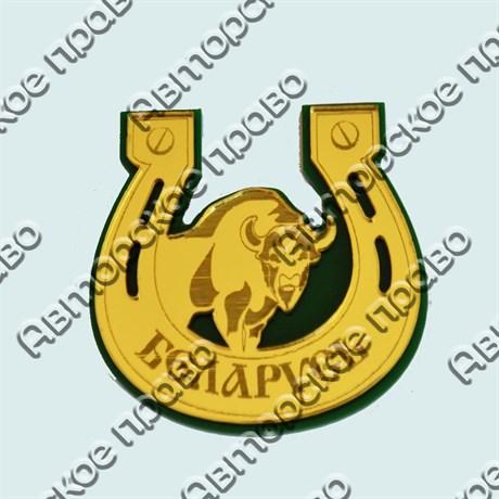 Купить магнитик зеркальный многослойный комбинированный подкова с буйволом на зеленой подложке - фото 9941