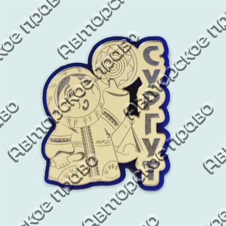 Купить магнитик золотой комбинированный девочка с бубном на синей подложке серебро - фото 9946