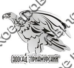 """Магнит зеркальный 1-цветный """"Орел"""" №3 серебро Зоосад Приамурский арт FS000143"""