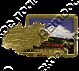 Магнит Карта с видами Вашего города Квадратный зеркальный золото
