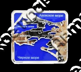 Магнит Карта с названием Вашего города Квадратный зеркальный серебро-синий