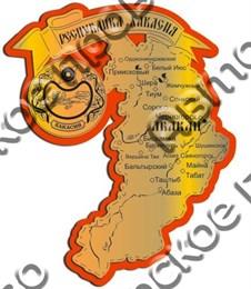 Магнит Карта Вашего региона золото-красный