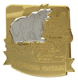 Магнит Карта Вашего региона с комбинированным элементом Медведь