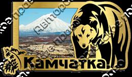 Магнит Медведь 4 с видами Вашего города Прямоугольный зеркальный золото
