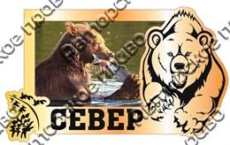 Магнит Медведь 3 с видами Вашего города Прямоугольный зеркальный золото