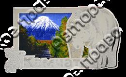 Магнит Медведь 4 с видами Вашего города Прямоугольный зеркальный серебро