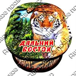 Шкатулка овальная цветная Тигр с названием Вашего города